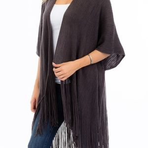 Fringe Trim Sweater Knit Poncho/Cardigan Charcoal